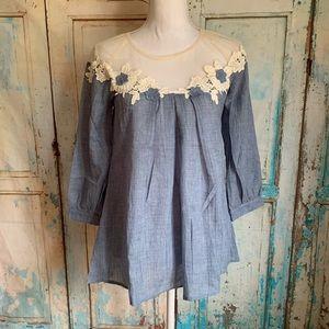Floral lace top blouse